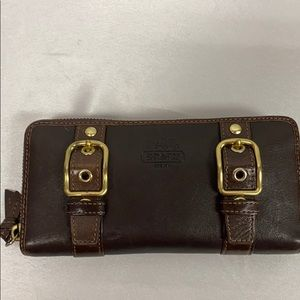 Coach Brown Gold Hardware Wallet Purple Lining
